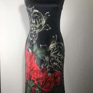 Black Floral Sleeveless Dress Front View, white background